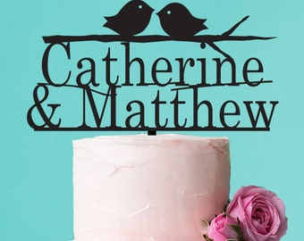 Personalized Love Birds Cake Topper (FJM9840848-LXJM)