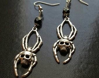 Handmade gothic spider skull earrings