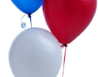 "5 sets of  Red, White and Blue 12"" Latex Balloon. (15 total) Patriotic Colours"