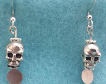 Metal Skull Dangler Earrings