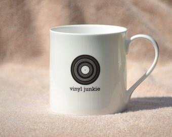 Vinyl junkie fine bone china mug