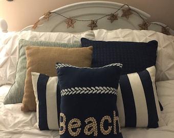 Navy Beach Pillow, Nautical Pillow