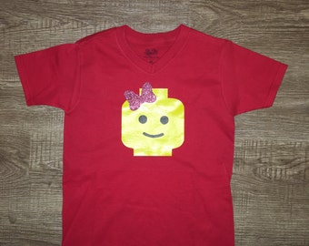 lego girl shirt / lego head tee / lego land girl shirt