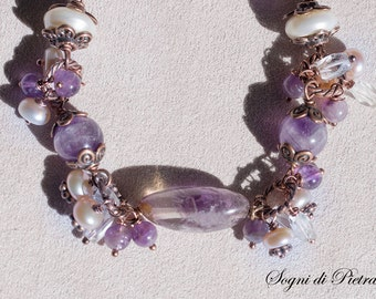 Cluster Amethyst charms bracelet, cabochon Amethyst, buttons pinkish Pearls, rondelle Pearls, rosary chain, boho, gift for HER, Pisces gift