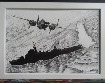 Original drawing aircraft and warship WWII