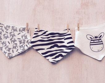 Zebra Cotton Bandana Bibs, Pk Of 3.....