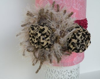 Baby Girl Headband, Flower Headband, Leopard Headband, Handmade Headband, Photo Prop Headband, Baby Accessories, Toddler Headband, Baby Gift