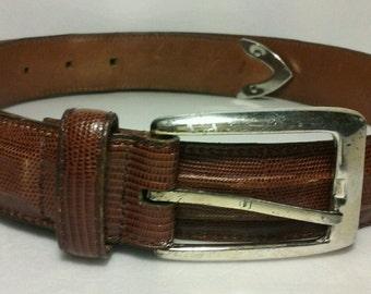 Cole Haan Lizard Embossed Leather Belt Brown 32/80