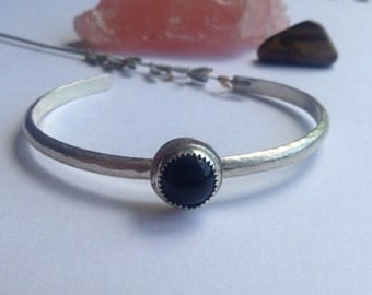 Black Onyx and Sterling Silver Textured Cuff - Size M/L