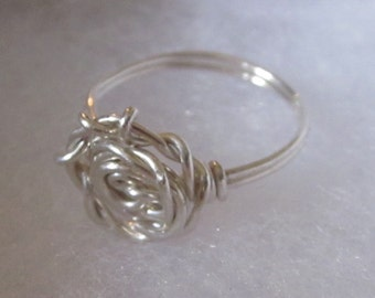 Sterling Silver Wire Wrapped Rose Ring size 4.5