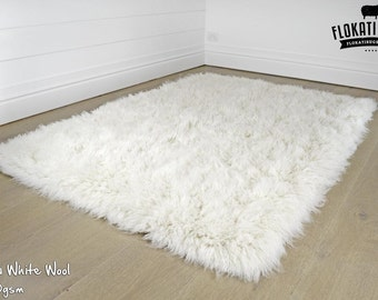 Flokati Wool Rugs - Handmade in Greece - 100% New Zealand Wool - Ultra Plush Rugs - SNOW WHITE - 3000gsm
