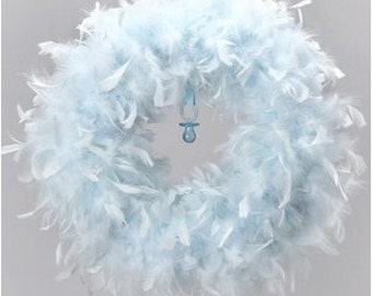 Quality Baby Blue Feather Wreath