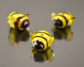Lampwork bumble bee beads,  glass bee beads, honey bee beads, insect beads, lampwork bee, glass yellow bee beads, lampwork bumble bee