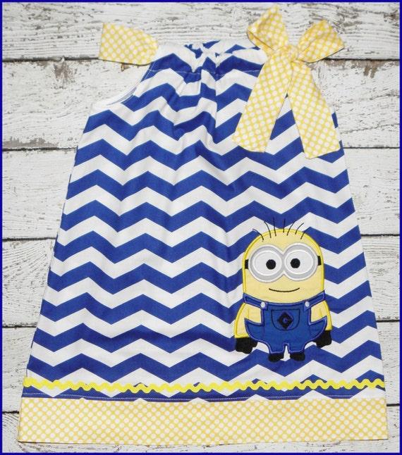 Super Cute Chevron Minion Pillowcase style dress Blue Chevron and Yellow polka dot