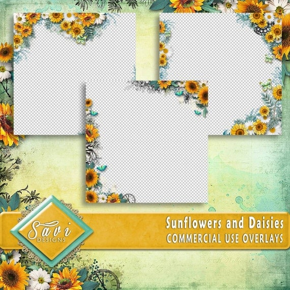 CU Commercial Use PNG Overlays x 3 for Digital Scrapbooking or Craft projects Sunflowers and Daisies, Designer Stock Papers