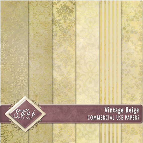 CU Commercial Use Background Papers set of 6 for Digital Scrapbooking or Craft projects VINTAGE Beige Papers, Designer Stock Papers