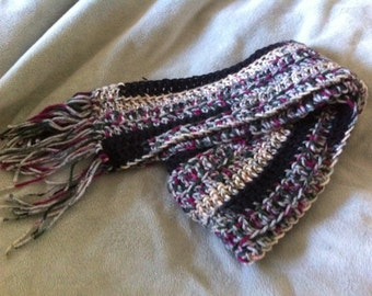 Crocheted Gray and Multi-Colored Scarf