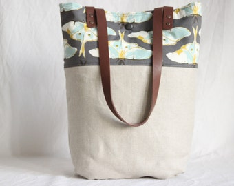 Canvas bag with leather handles, butterfly