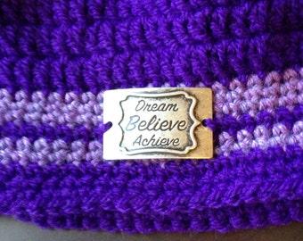 Purple Beanie Dream Believe Achieve