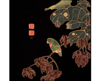 Parrot Print - Parrot Digital Print - Black Gold Red - Japanese Digital Print - Japanese Art - Square Print - Ito Jakuchu - Digital Download