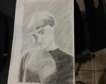 Print of Audrey Hepburn Black and White Portrait