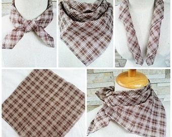 Handkerchief Scarf 07 Striped brown scott pattern 50X50 cm