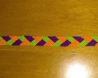 Orange, Green & Purple Woven Bracelet