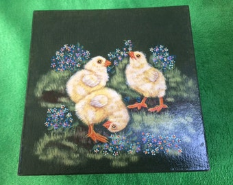 Hand Painted Spring Chicks on Paper Mache Gift Box