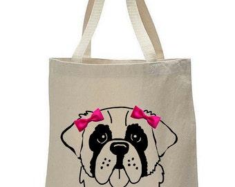 Dogs & Bow Ties: Saint Bernard Canvas Tote Bag, St. Bernard