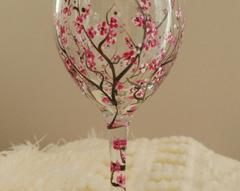 """Beautiful Hand Painted, Cherry Blossoms on """"Food Network"""" Wine Glasses!"""