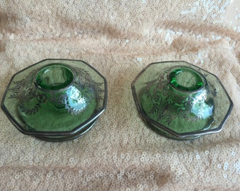 Art Deco Glass Candle Holders