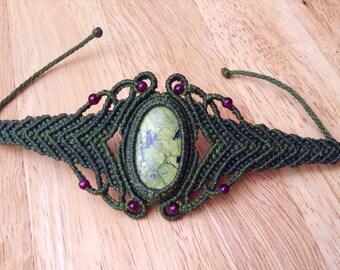 Dark Green Macrame Bracelet With Serpentine Stone