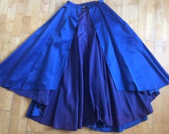 Rare 1950s Vintage Hostess Skirt Stunning Delicious Cobalt Blue Satin Circle Pinup Fishtail Waterfall Front-Lucile Ball Couture 10 - 14