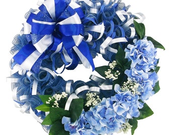 Blue Hydrangea Deco Mesh Everyday Wreath