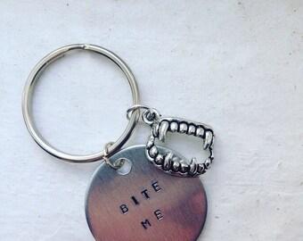 Bite Me Keychain Vampire Fangs
