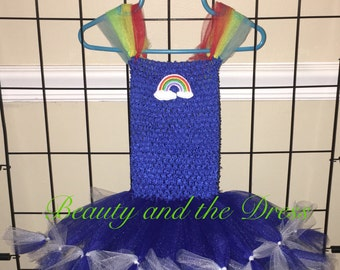 A infant/toddler Rainbow Brite inspired tutu tulle dress. Halloween costume.