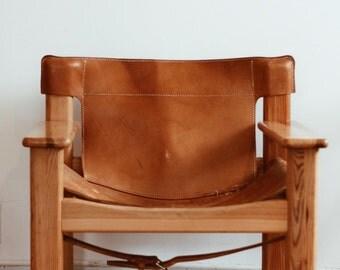 mid century leather armchair