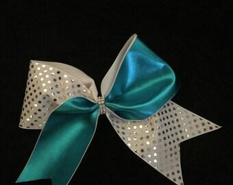 Metallic turquoise cheer bow