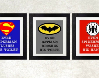 superhero bathroom sets. Superhero Bathroom  Printables Bath Even Batman Spiderman bathroom Etsy
