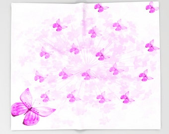 Butterflies and Flowers Pink-Throw Blanket