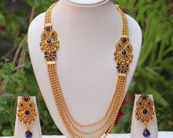 Traditional long Necklace with blue stones and Jumkha earrings