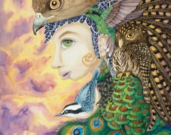 """Bird Woman Watercolor Painting 16""""x17"""" Giclee Canvas Print, totem archetype owl hawk peacock nuthatch hummingbird feathers surrealism nature"""