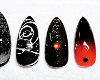 Black and red custom made nails