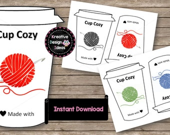 Cup Cozy Templates Inserts Instant Download Printables To Go Sleeves Coffee Cup Cozy Holders Made to Order