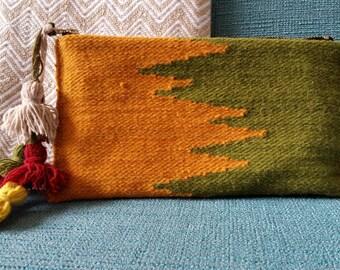 Zig Zag Peru Textile Clutch, Green and Yellow, Peru Handbag