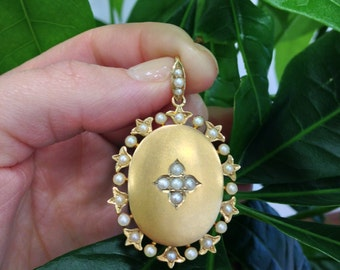 Victorian Seed Pearl Locket 15ct Yellow Gold