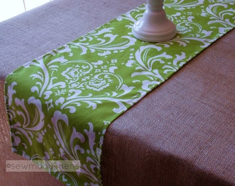 Chartreuse Lime Green Table Runner Fabric Cloth Table Centerpiece Kitchen Dining Room Decor Damask Floral Table Runner