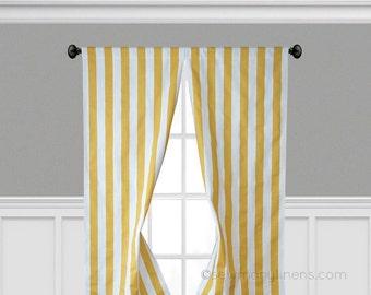 Yellow Stripe Curtains Window Treatments Yellow Curtain Panels Nursery Decor Bedroom Panels Drapery Modern Decor