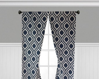 Navy Blue Curtains Geometric Lattice Panels Window Treatments Nautical Navy Modern Curtains Custom Drapes Pair
