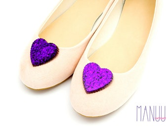 Purple glittery hearts - shoe clips Manuu
